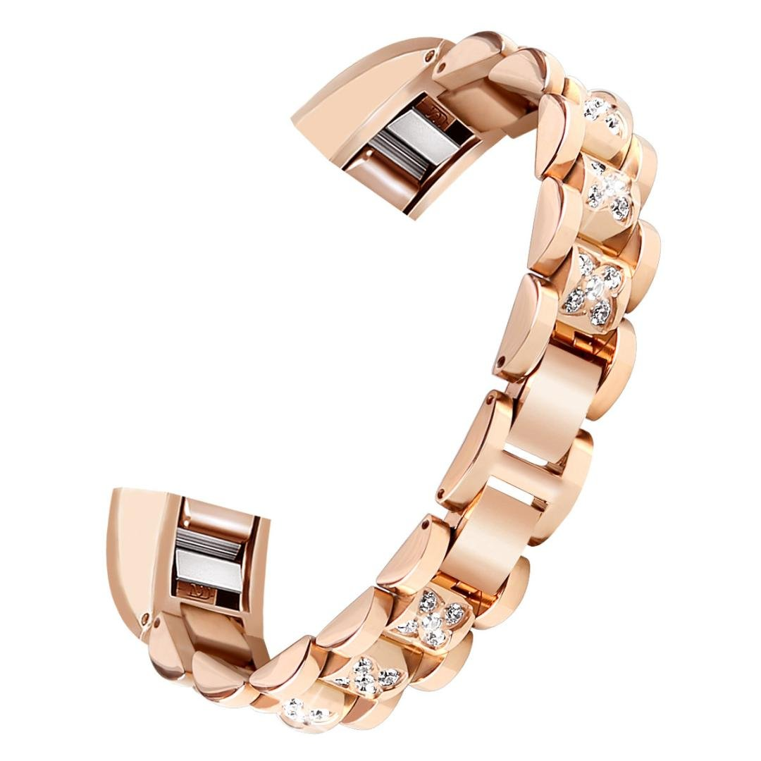Singleluci Women Girls Luxurious Bling Crystal Chain Replacement Strap Wristband Sport Watch Band for Fitbit Alta HR/Fitbit Alta (Rose Gold)