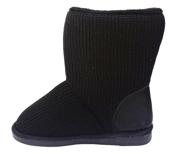 Elegant Women's Classic knit sweater Crochet Faux Fur Lined Mid Calf Grey Flat Boots