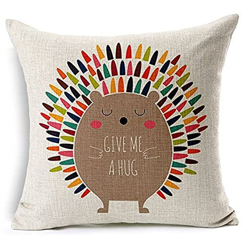 Beau Hedgehog Embrace Cotton Linen Throw Pillow Case Cushion Cover Home Office  Decorative 18inch X 18 Inch (6)