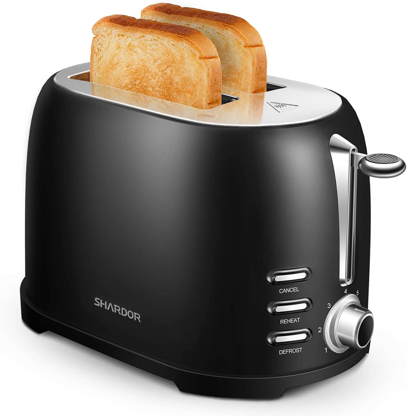 SHARDOR Toaster 2 Slice, Extra-Wide Toaster, Stainless Steel Toaster, Evenly Toast, Black