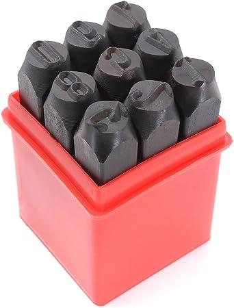 Sellos de numeros SODIAL R Conjunto de sellos de numeros 2 mm punzon de acero de metal caja de herramienta del arte 3mm