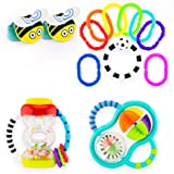 Sassy My First Rattles Gift Set 0+ Months Featuring 4 of Our Favorite Sassy Rattle Toys, Bee Wrist Rattles, Hourglass Rattle, 9pc Ring O'Links, Grasp and Spin Rattle