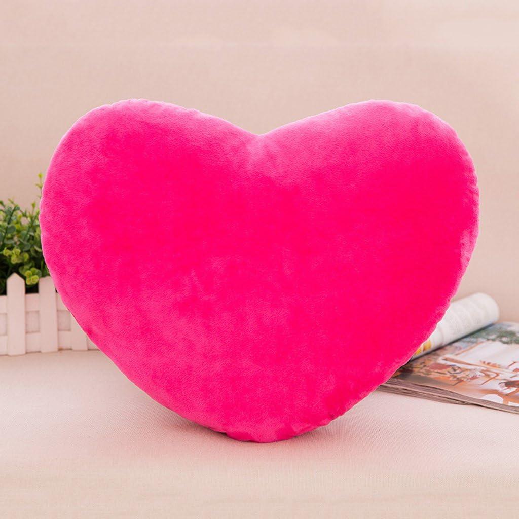 Rouge Lunji Color/é Coussin Coeur Peluche D/écoration de Maison 15cm