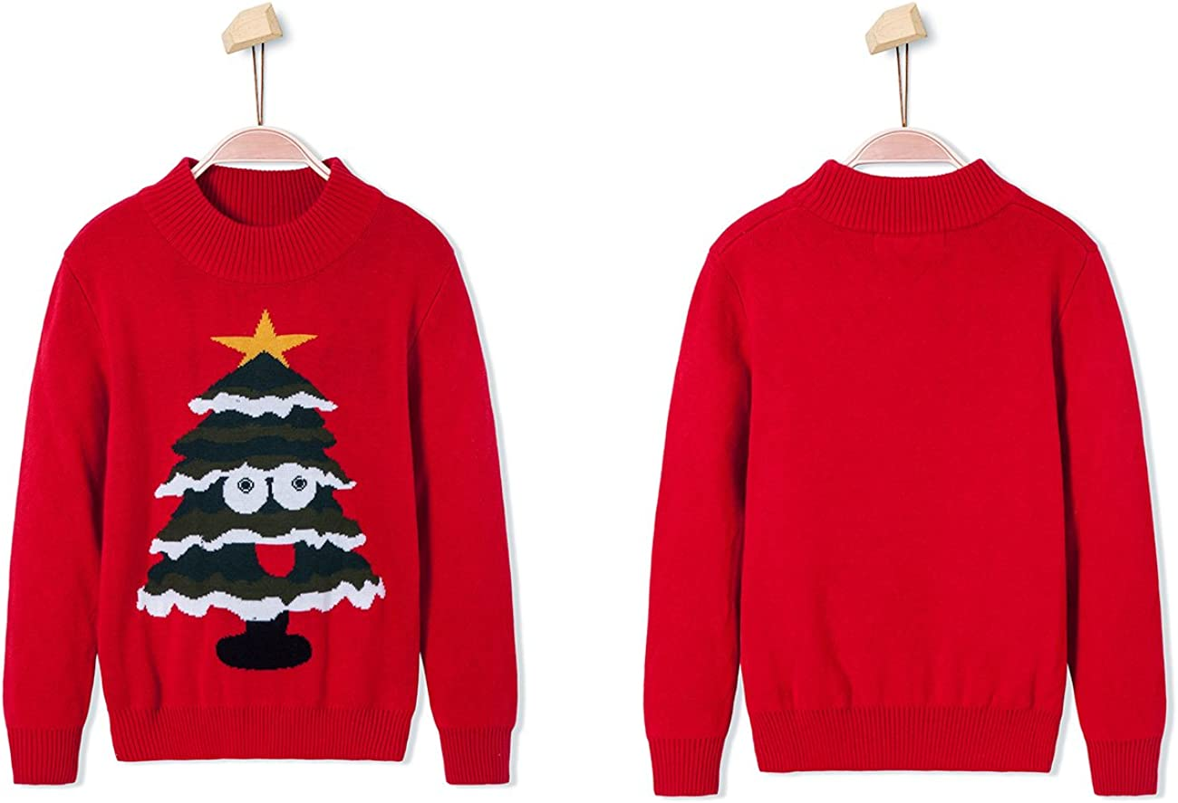 BYCR Boys Cute Smile Christmas Tree Warm Knit Pullover Sweater for Kids 4-12 yrs