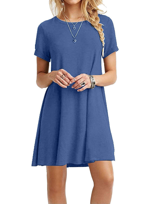 32bejabluee TOPONSKY Women's Casual Plain Simple TShirt Loose Dress