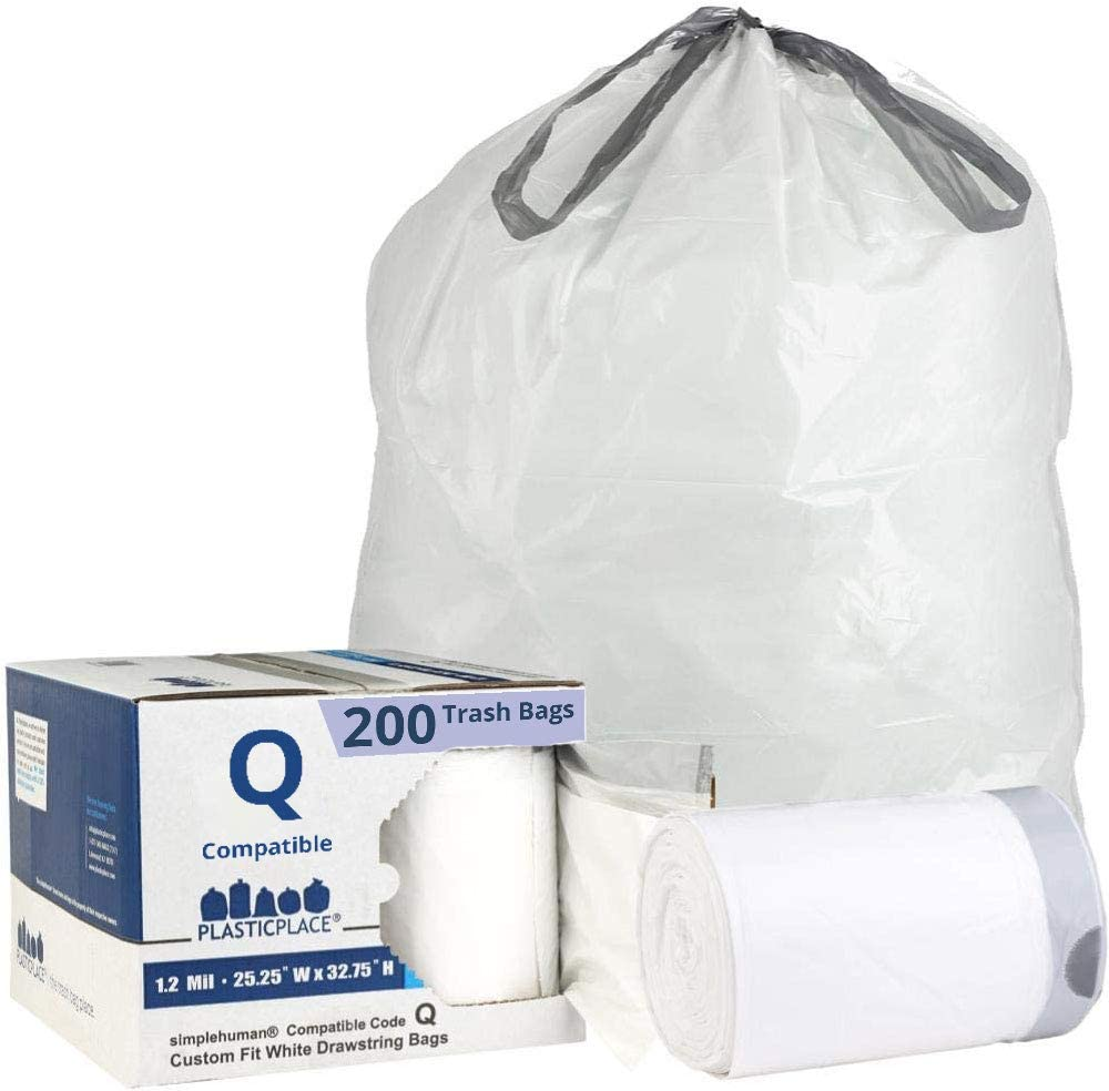 Plasticplace Custom Fit Trash Bags simplehuman (x) Code Q Compatible (50 Count) White Drawstring Garbage Liners 13-17 Gallon, 200