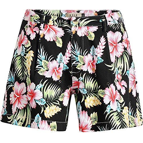 Hawaiian Print Shorts (SSLR Women's High Waist Ultra Stretch Casual Aloha Hawaiian Beach Shorts (30, Black))