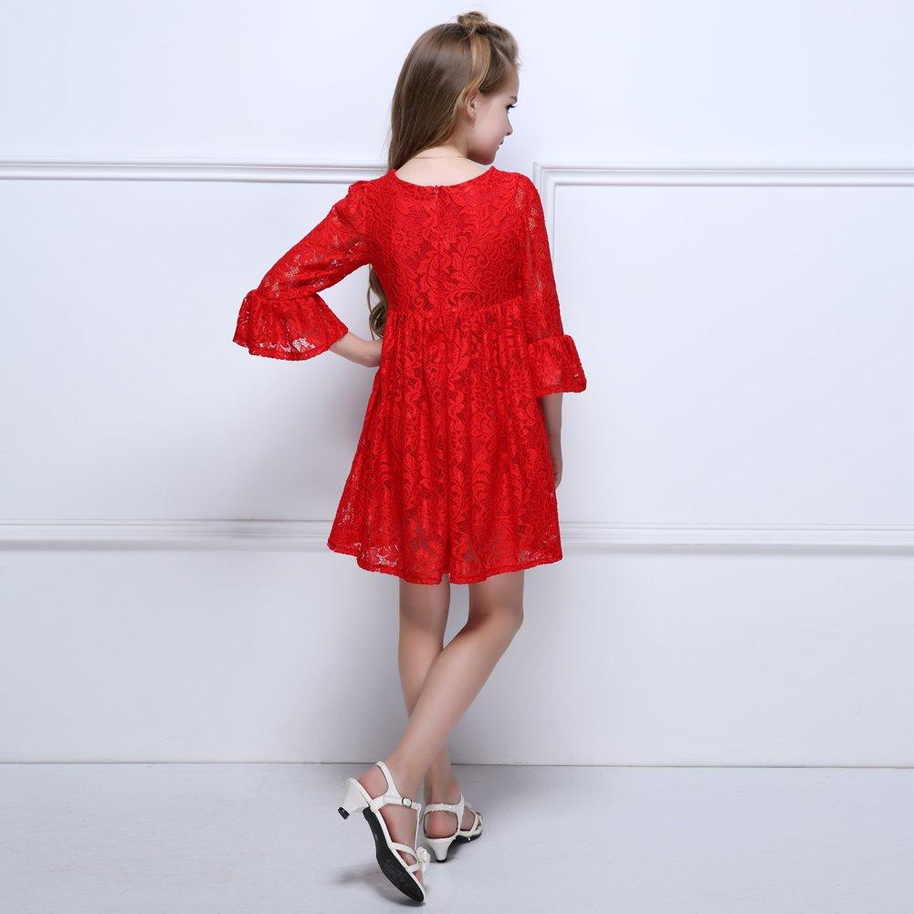 Kseniya Kids Big Little Girls Embroidery Dresses Puff Sleeve 2 Layers Girl Autumn Winter Dress