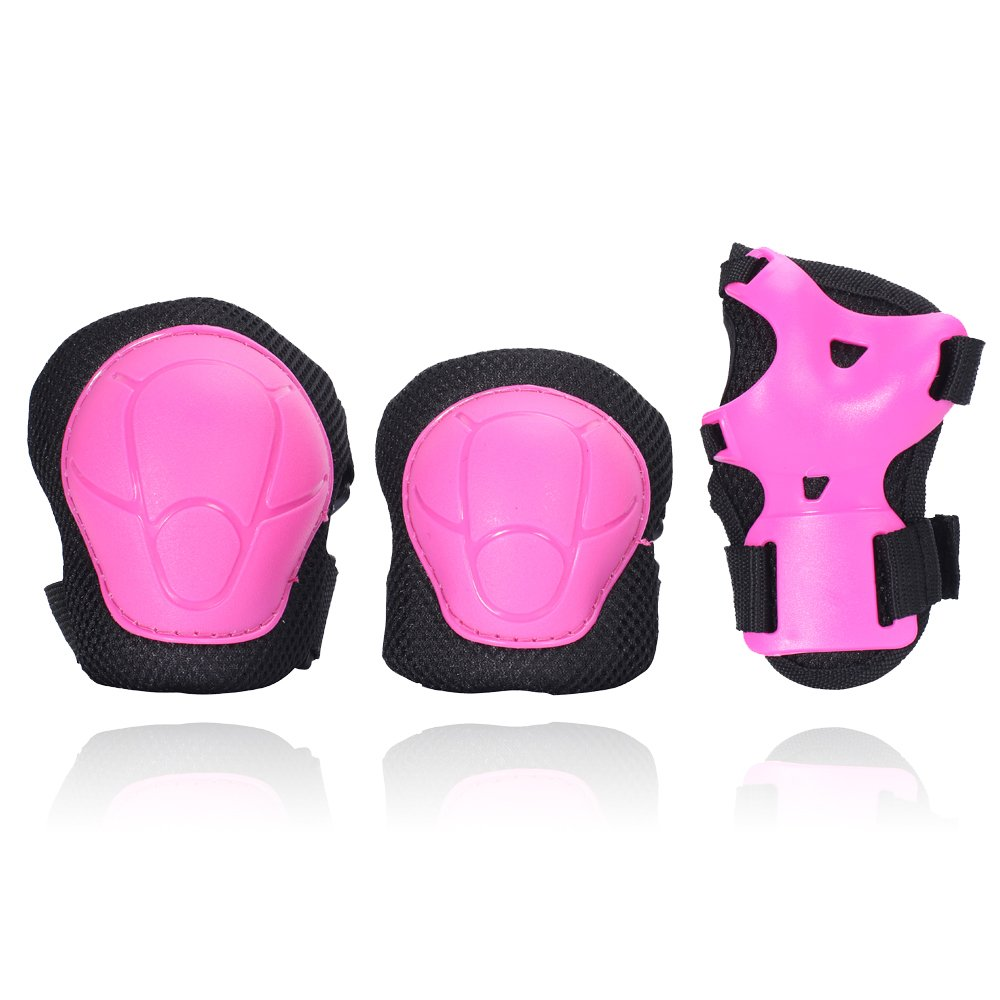 eNilecor Kid's Knee Pads Elbow Pads Wrist Guards for Skateboarding Cycling Inline Skating Roller Blading Protective Gear Pack of 6 (Hot Pink/Black, S)