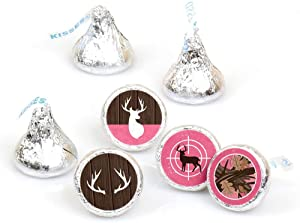 Pink Gone Hunting - Deer Hunting Girl Camo Baby Shower or Birthday Party Round Candy Sticker Favors - Labels Fit Hershey's Kisses (1 Sheet of 108)