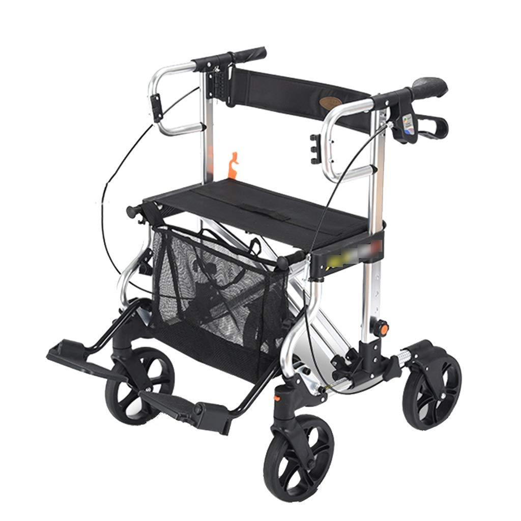 ショッピングカート老人トロリーホーム四輪ウォーカーポータブルショッピングカートは折りたたみ車椅子ギフトを取ることができます100 Kg (Color : BLACK, Size : 58*63*82) B07SLTKR8P BLACK 58*63*82
