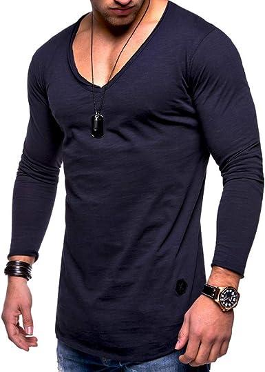 Camisetas de manga larga para hombre de algodón básico con cuello ...