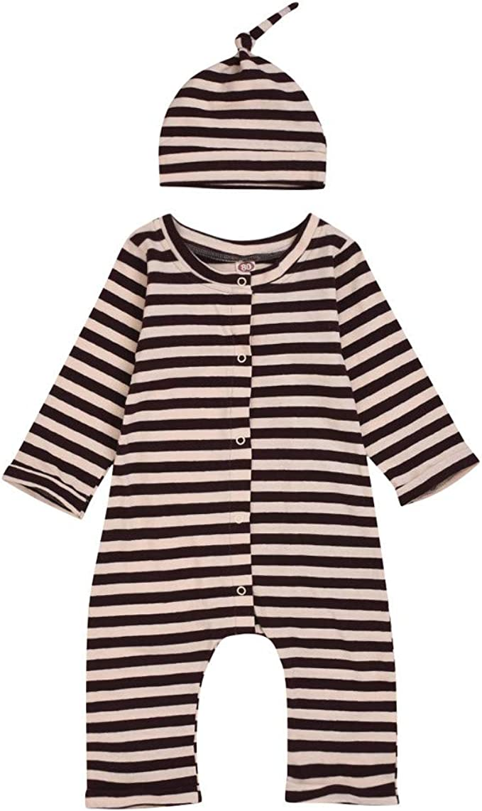 0-18Months SIN vimklo Baby Boys Girls Sweatshirt Solid Color Tops+Long Striped Pants Pajamas Outfits Sets