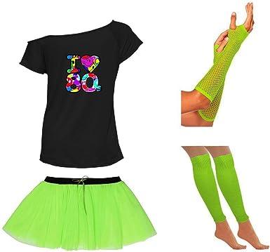I LOVE 80S NEON TUTU SKIRT SET FANCY DRESS T SHIRT HEN PARTY LEG WARMERS