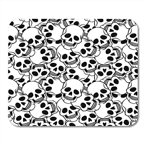 Mouse Pads Abstract Black Tattoo with Skulls White Halloween Artistic Pad for Notebooks Desktop Computers Mats Office -