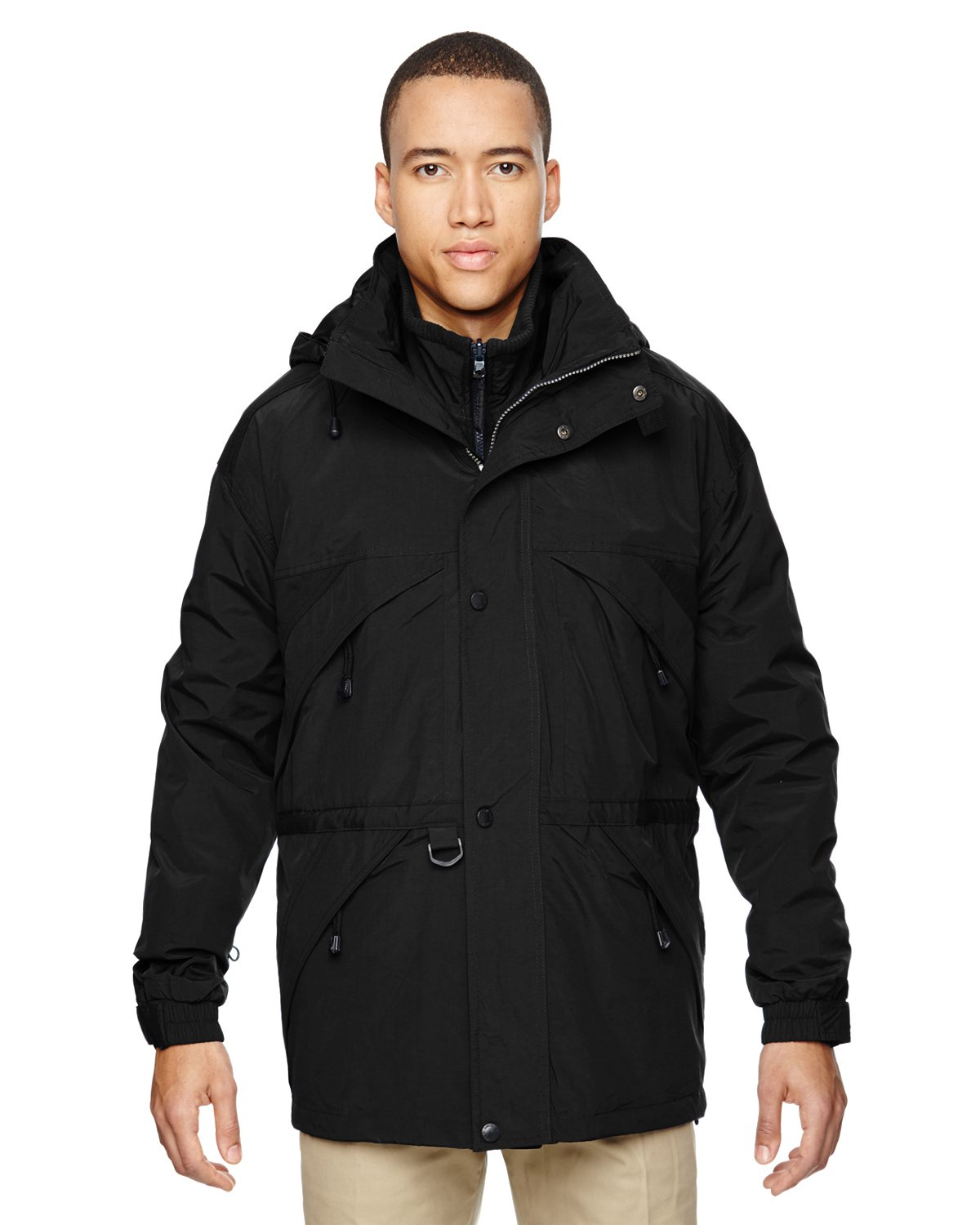 Ash City Mens 3-in-1 Parka with Dobby Trim (Small, Black)