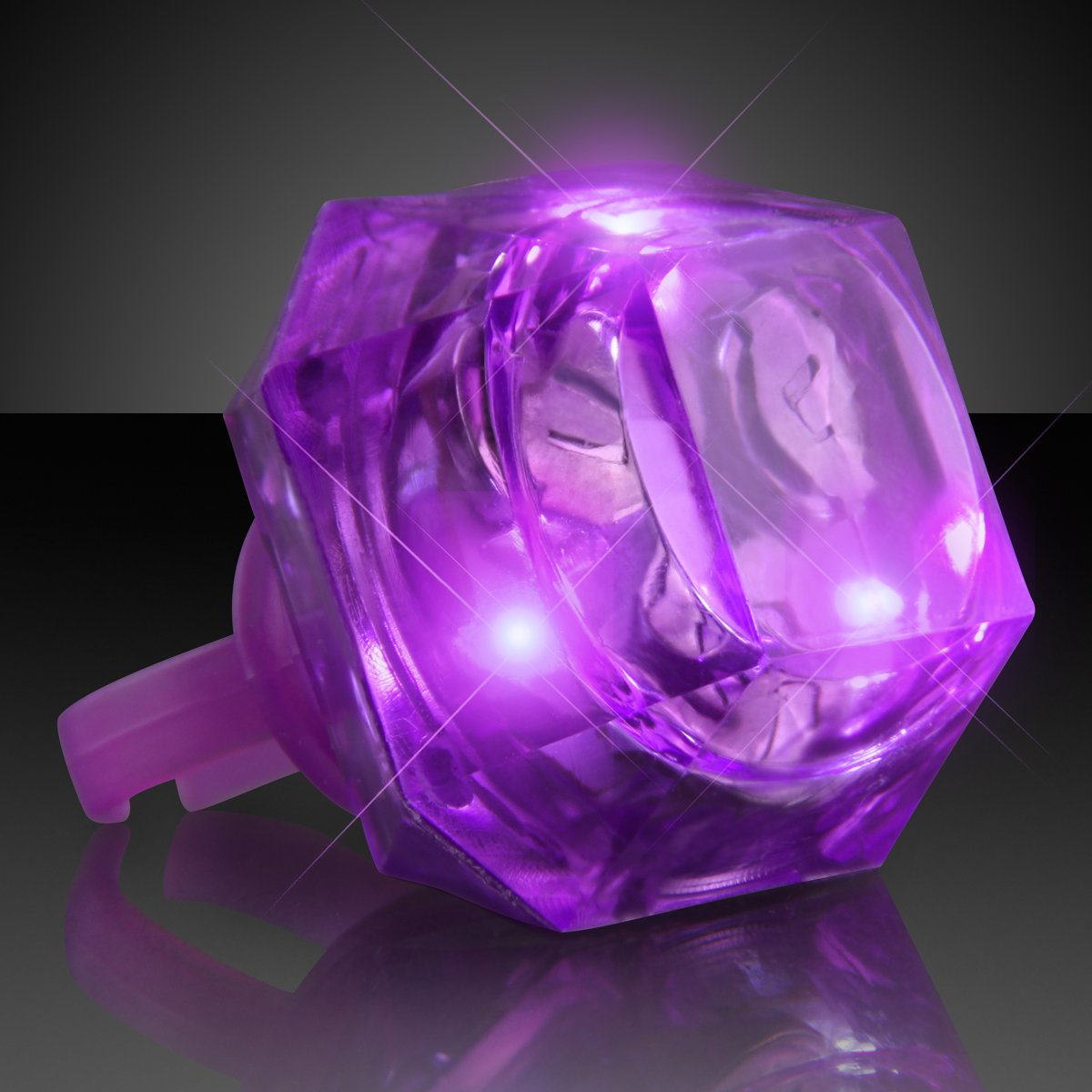 FlashingBlinkyLights Purple Huge Gem Light Up LED Rings (Set of 24)
