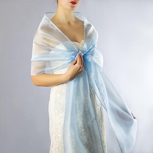Chal organza color azul novia boda novia para vestido de fiesta azul claro