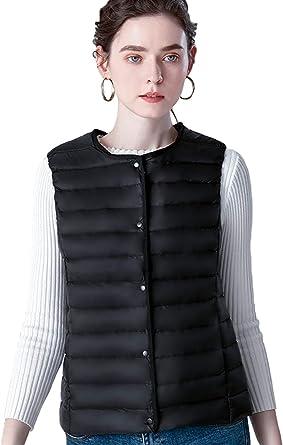 Women/'s Ultra-light Down Vests Round Neck Sleeveless Ladies Waistcoat Jacket