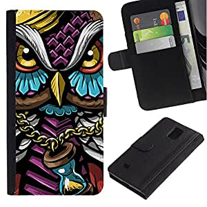 KLONGSHOP // Tirón de la caja Cartera de cuero con ranuras para tarjetas - Colorido Búho Gangster - Samsung Galaxy Note 4 IV //