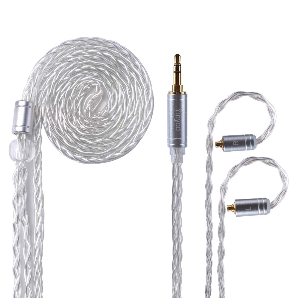 MMCX Balanced Replacement Cable Yinyoo Upgrade 8 Core Silver Plated Cable HiFi Repalcement Earbuds Cable 3.5 mm Audio Plug Cable & MMCX for UE900 SE215 SE315 SE846 SE535 SE425 TIN T2(mmcx 3.5mm)