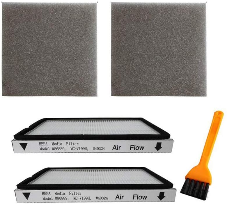 VideoPUP 2 Pack Exhaust HEPA Filters with Foam Filters, HEPA Media Filter Fit for Kenmore EF-1 Compares to Model 86889, Panasonic, MC-V199H, 40324 + 1 Brush as a Gift
