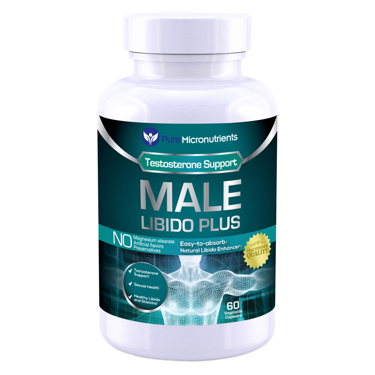 Male Libido Plus- Natural Testosterone Booster for Men that supports Fertility, Sexual Performance & Stamina. Maca, Ginseng, Sarsaparilla, Muira Puama & Tongkat Ali - Pure Micronutrients