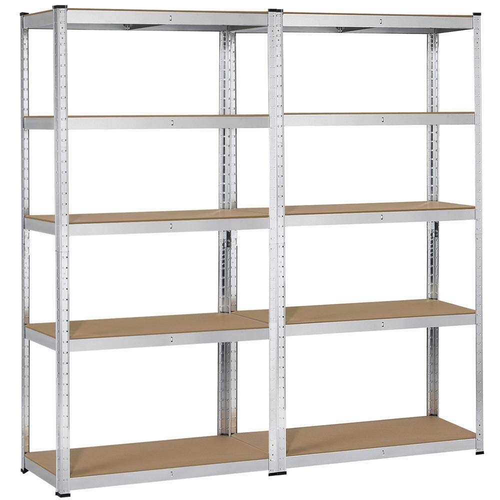 Topeakmart 5 Tier Storage Rack Heavy Duty Adjustable Garage Shelf Steel Shelving Unit,71in Height, 2 Bay Garage Shelf by Topeakmart