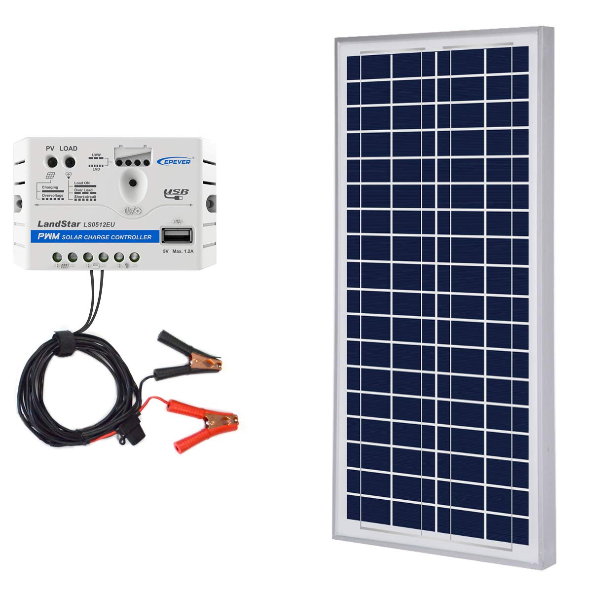 ACOPOWER 35W 12V Solar Charger Kit, 35 Watts Polycrystalline Solar Panel & 5A Charge Controller for RV, Boats, Camping; w USB 5V Output as Phone Charger