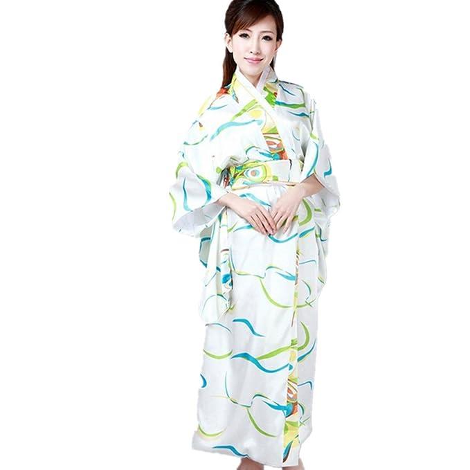 Vintage Retro lujoso traje traje de Cosplay kimono yukata japonés haori - vestido Blanco