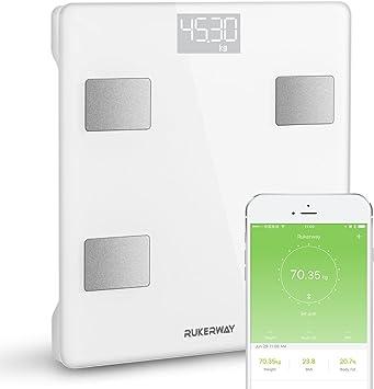 Rukerway Báscula Bluetooth para la Composición Corporal,Báscula Inteligente con App de IOS y Android Control 13 Datos de Salud:Peso,IMC,Grasa ...