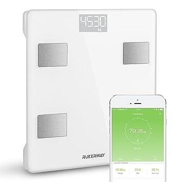 Rukerway Báscula Bluetooth para la Composición Corporal,Báscula Inteligente con App de IOS y Android