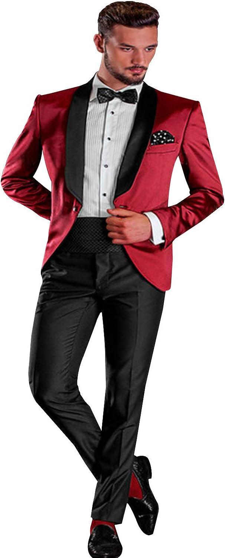 QZI Men's Suit Shawl Lapel 2 Pieces Set One Button Slim Fit Party Jacket Pants Red