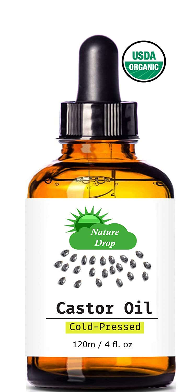 Nature Drop's Organic Castor Oil,4 oz - 100% USDA Certified Pure Cold Pressed Hexane free - Best oil Growth For Eyelashes, Hair, Eyebrows, Face and Skin, Triple Filtered, Great for Acne