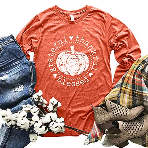 152b0a847e8 Beopjesk Women s Long Sleeve Thanksgiving Pumpkin Blessed Thanksful T Shirt  Funny Casual Graphic Tees Tops
