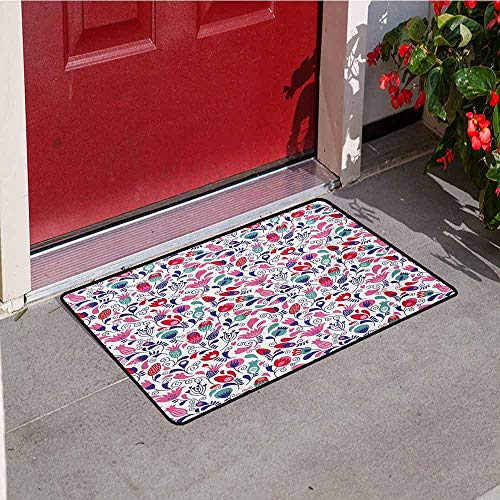 Jinguizi Tulip Commercial Grade Entrance mat Floral Background with Linked Swirling Tulip and Branches Fresh Ornate Artistic for entrances garages patios W35.4 x L47.2 Inch Pink Teal Red
