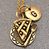 Pie on plate necklace, pie on plate charm, food necklace, personalized necklace, initial necklace, initial charm, monogram