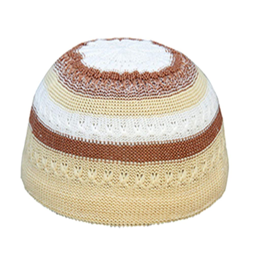 ink2055 Men Muslim Islamic Prayer Cap Hat Color Block Outdoor Skull Hat Cap Topi Beanie Headwear - Khaki
