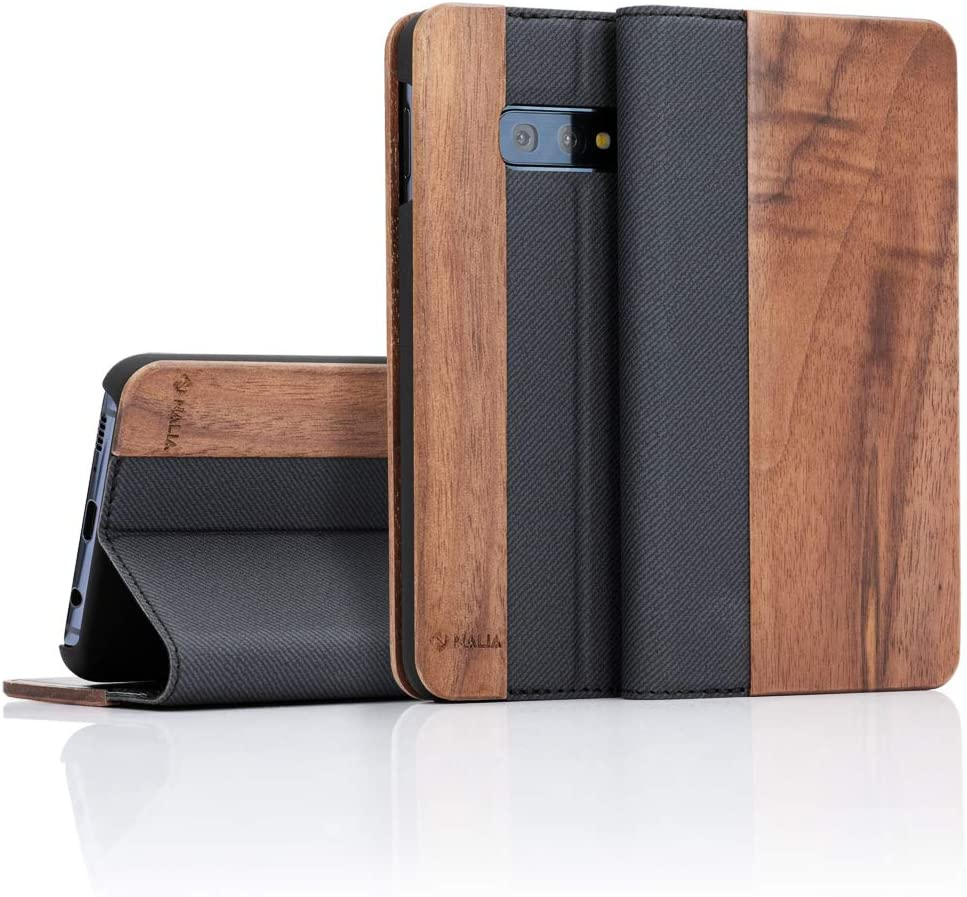 NALIA Wood Flip Case Compatible with Samsung Galaxy S10e, Handmade Leatherette Wallet Smart-Phone Book Cover Slim Back & Front Protector, Full-Body Shockproof Bumper with Card Slots, Color:Walnut