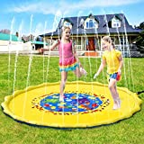 Pellor Sprinkle and Splash Play Mat, Multi-Size Kids Inflatable Outdoor Sprinkler Water Pad Thickening PVC Water Spray Pad for Children Infants Toddlers, Boys, Girls (170cm)