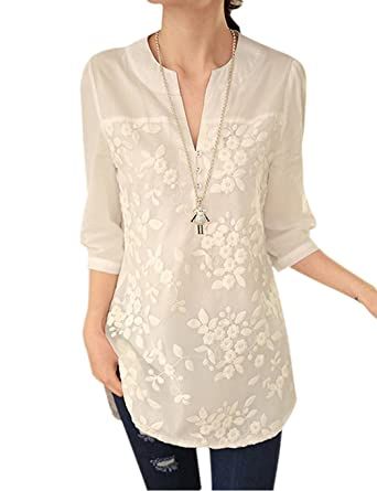 650b84780c5 Cooshional Women Flower Embroidery Notch Neck 3 4Sleeve Casual Long Blouse  Tops T-Shirt  Amazon.co.uk  Clothing