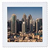 3dRose Danita Delimont - Cities - UAE, Downtown Dubai. Elevated view of Downtown area - 20x20 inch quilt square (qs_277103_8)