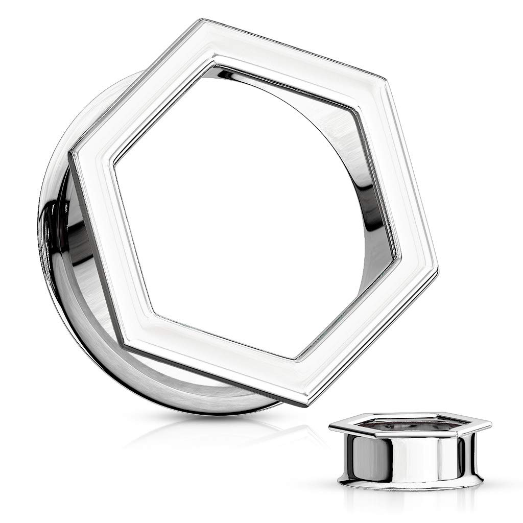Inspiration Dezigns Pair Hexa Front 316L Surgical Steel Double Flared Tunnels (1'' (25mm))