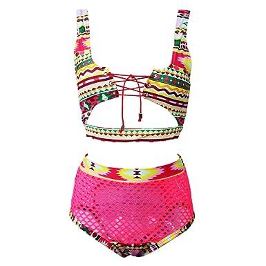 41079759698 tengweng Women African Print Two Piece Lace Up Bikini High Waist Mesh Cutout  Thong Swimsuit S