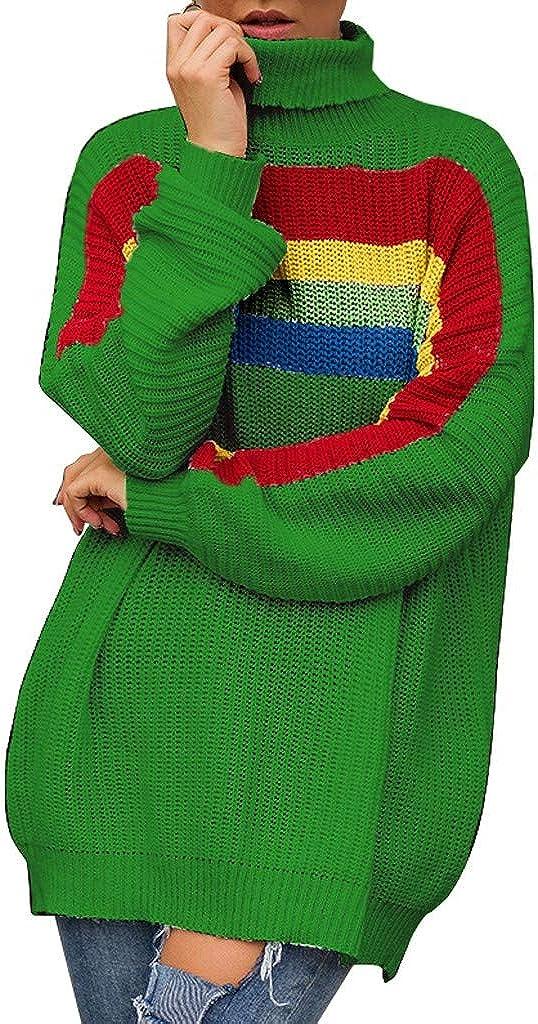 Yoyorule Casual Shirt Fashion Women Knitted Rainbow Print Long Sleeve O-Neck T-Shirt Sweater Blouse
