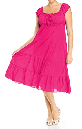 e7f2760fa286 Plus Size Pink Cotton Empire Waist SunDress - 1X at Amazon Women s ...