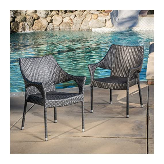 Alameda | Outdoor Wicker Chairs | Set of 2 | Perfect For Patio | in Grey - Includes: two (2) stacking chairs material: PE and iron color: Grey no assembly required Chair dimensions: 24.00 inches deep x 24.50 inches wide x 33.00 inches high seat width: 18.50 inches seat depth: 18.25 inches seat Height: 16.60 inches Brand name: Christopher Knight Home Made in China - patio-furniture, patio-chairs, patio - 61PP5BjLyEL. SS570  -