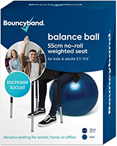 Balance Ball - No-Roll Weighted Seat is a Flexible Chair for School, Office or Home (Medium, Dark Blue)