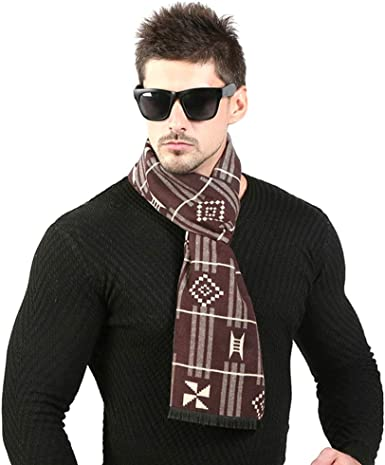 Mens Fashion Cashmere Feel Scarf Spring Winter Soft Warm Long Scarves with  Short Tassel Unisex(Brown) at Amazon Men's Clothing store