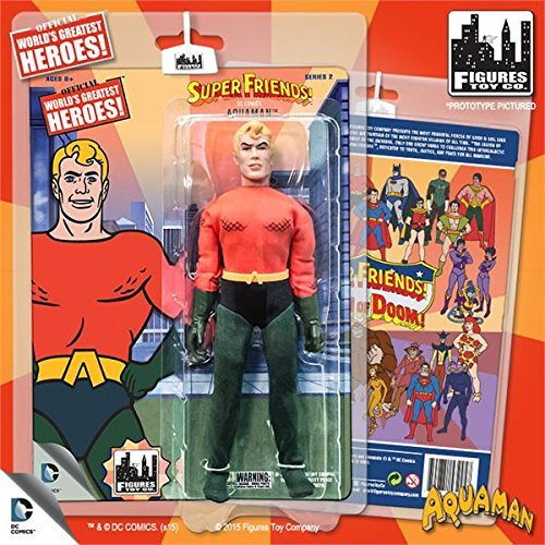 Super Friends Retro 8 Inch Action Figures Series 2 Aquaman Figures Toy Co.